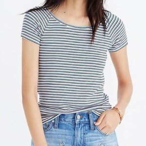 MADEWELL BLUE WHITE STRIPED TOP RIBBED TEE SHIRT